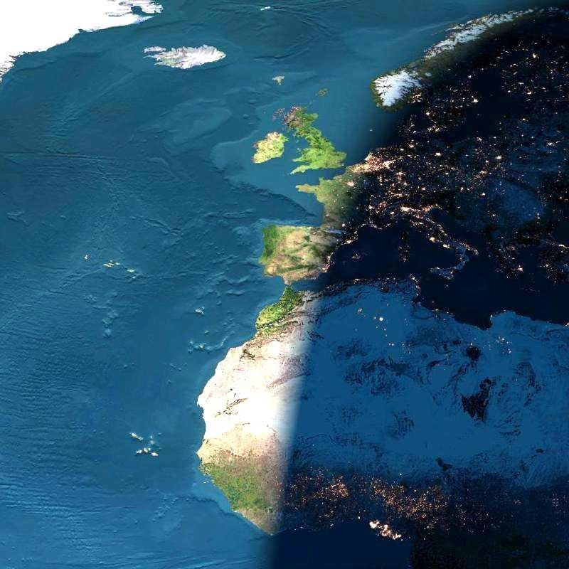 Day and Night across Europe from Space